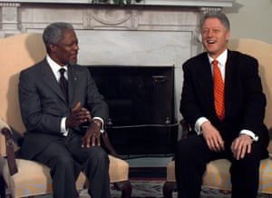 President Clinton meets with Kofi Annan in the Oval Office of the White House, Wednesday, March 11, 1998.