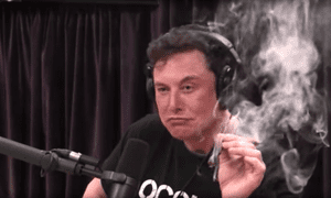 Elon Musk smokes a joint on the Joe Rogan Experience podcast.