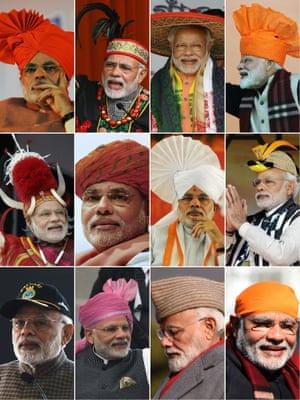 Composite image of Narenda Modi in various headwear