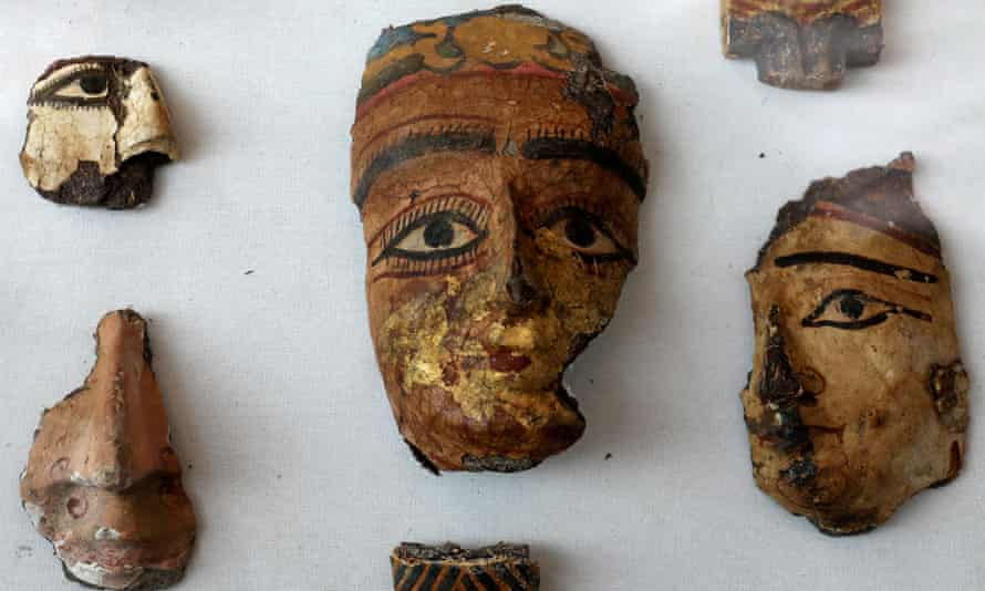 Fragments of decorative faces