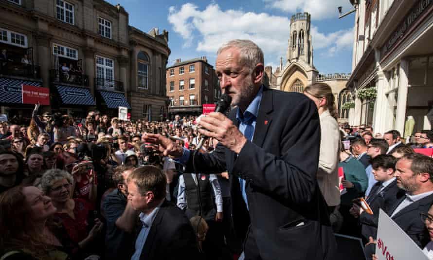 Jeremy Corbyn  addresses supporters in York.