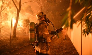 Protecting homes from the south-western Sydney bushfire.