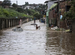 A street flooded with water from the Tejipió. The floods are caused in part by the huge amount of plastic pollution in the river.