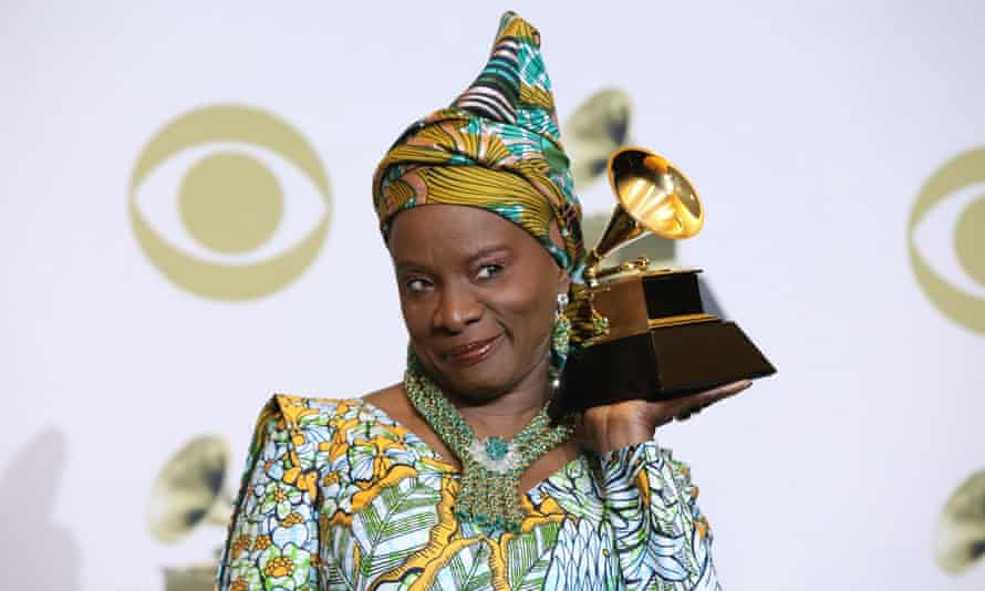 Angélique Kidjo with what was then called the best world music album award, at the 2020 Grammys.