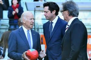 Joe Biden and Gillon McLachlan