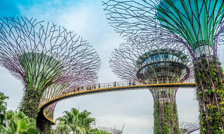 Genre-defying: the bridges and 'supertree' towers of Singapore's Gardens by the Bay.