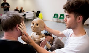 An unfinished puppet in rehearsal for The Grinning Man at Bristol Old Vic