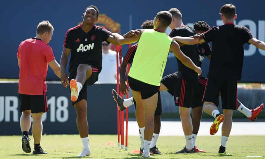 Anthony Martial, left, would like to leave United but his departure from their tour at this point is inconvenient.