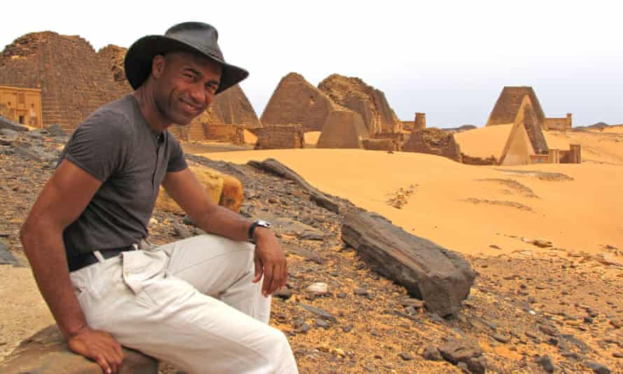 Gus Casely Hayford at the Meroe Pyramid ruins in Sudan for BBC Four's Lost Kingdoms of Africa.