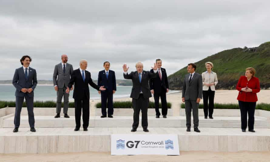 President of the European Union and G7 leaders from Canada, France, Germany, Italy, Japan, the UK and the US pose for a group photograph ahead of their meeting this weekend