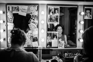 Bronwyn James & Sally Rogers - in their dressing room before 'Hangmen' at the Royal Court Theatre