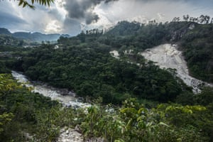 The Gualcarque river, downstream from the Agua Zarca dam