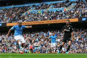 Sergio Aguero of Manchester City scores a goal to make it 2-0.