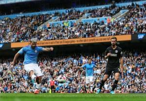 Agüero fires home to put City 2-0 ahead.