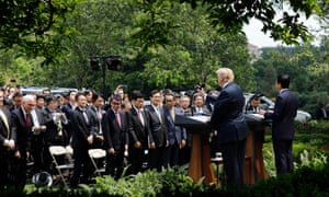 Trump and Abe in the White House rose garden.