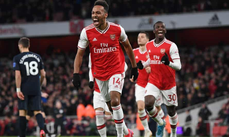 Pierre-Emerick Aubameyang celebrates scoring Arsenal's third goal, which turned out to be the winner, against Everton.