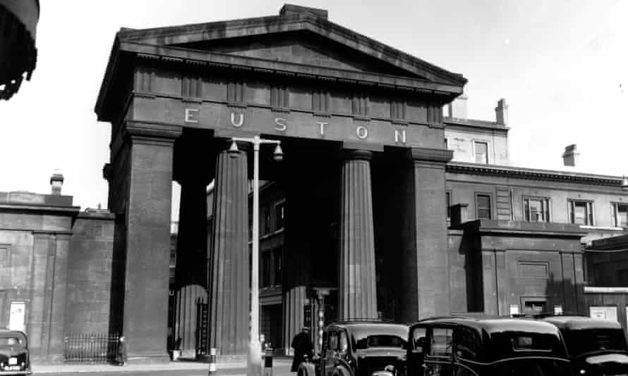 The neo-classical entrance arch to London's Euston station, April 1954.