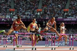 Ennis hurdles at the 2012 Olympics