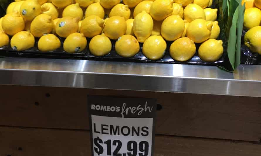 Lemons on sale for $13 a kilogram at a grocer on Oxford Street in Sydney.