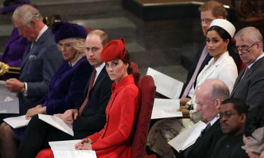 Harry and Meghan with members of the royal family at the Commonwealth service at Westminster Abbey in London in 2019.