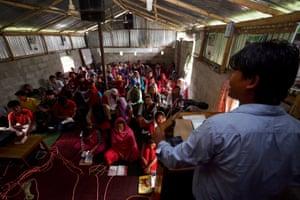 Mahibal Praja, a Chepang pastor, preaches at his church in Manahari