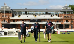 Batting coach Graham Thorpe, Eoin Morgan and Jonny Bairstow make their way to the nets before Sunday's final against New Zealand at Lord's.