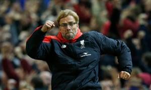 25/10/15 Liverpool manager Juergen Klopp celebrates their first goal