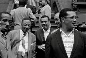 (From left) Eddie Locke, Jay C Higginbotham, Charles Mingus, Ernie Wilkins, Bill Crump