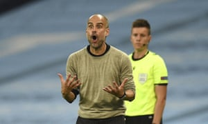 Pep Guardiola reacts during the Champions League last-16 second leg between Manchester City and Real Madrid