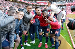 Lille players celebrate after their 1-0 win over Bordeaux.