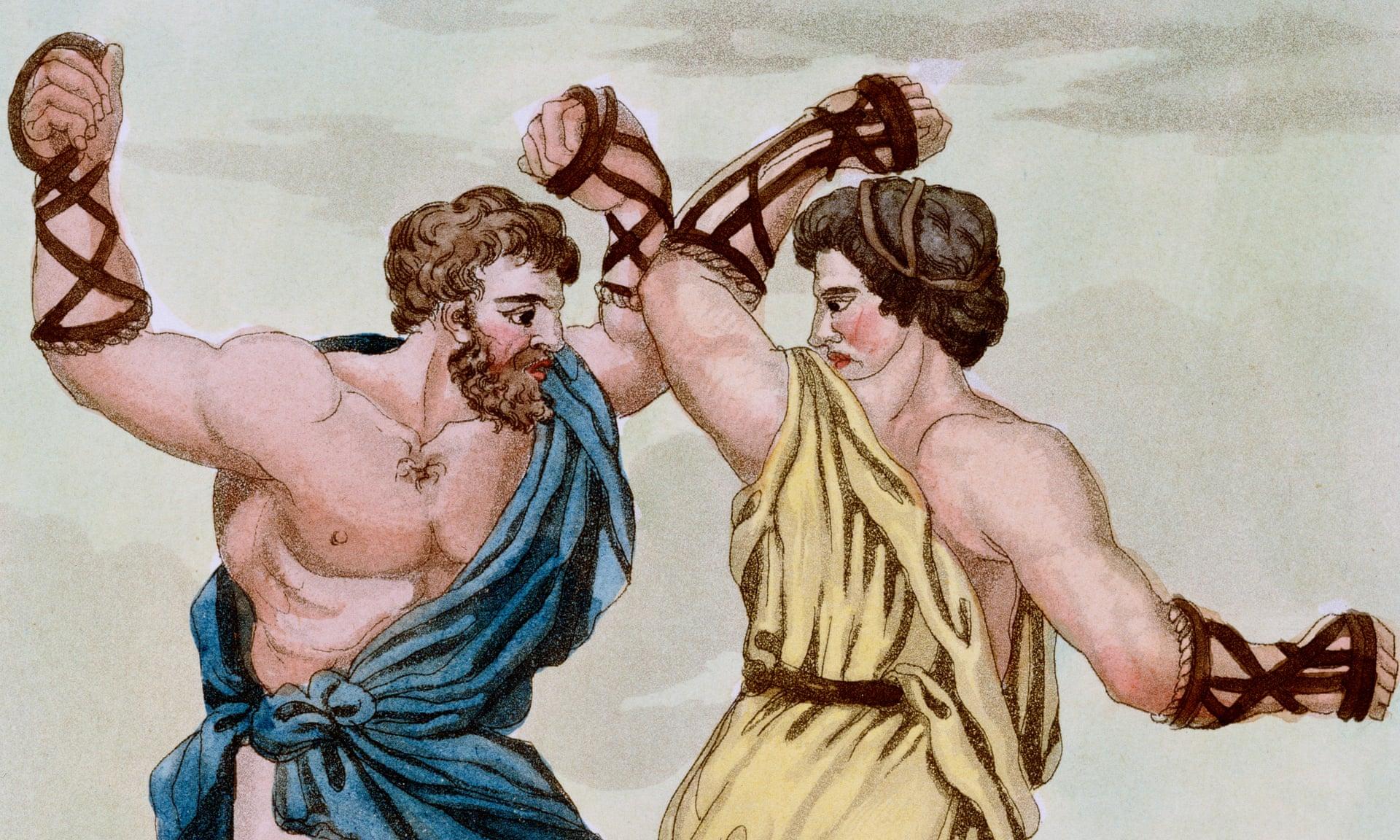 Impresión de un grabado que muestra a dos púgiles, gladiadores que se enfrentaban çunicamente con los puños. Foto: Historical Picture Archive/Corbis via Getty Images