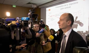 Remi Jouty, director of BEA, answers reporters during a press conference.