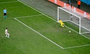 Mikel Oyarzabal of Spain slots home the winning penalty past Yann Sommer.