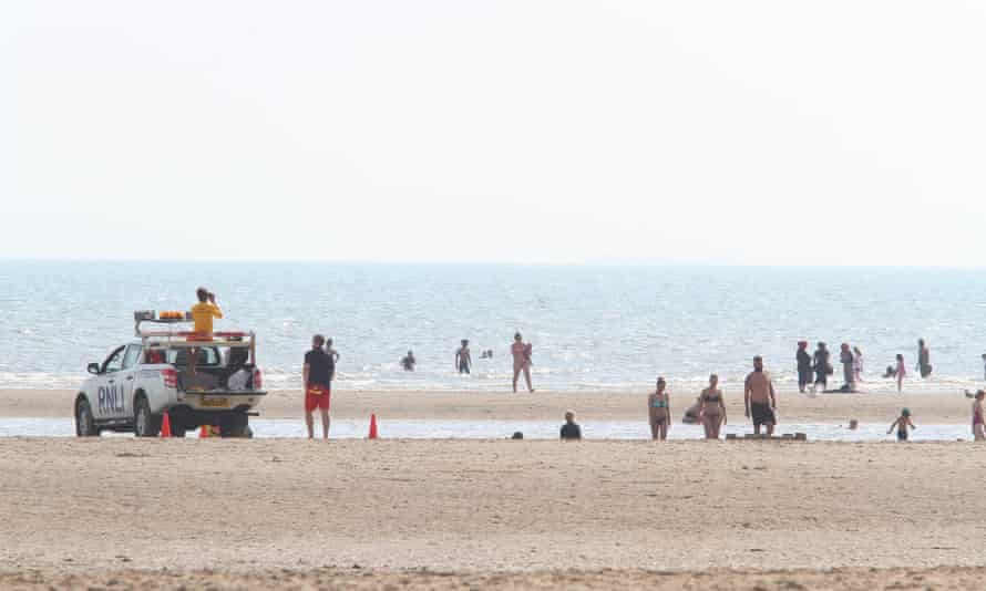 Lifeguards on duty after the death of five swimmers, Camber Sands, in August.