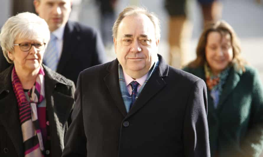The former Scottish first minister Alex Salmond arrives at Edinburgh high court for day six of his trial.