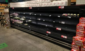 Empty shelves in a poultry section of a Woolworths supermarket in Melbourne on Thursday.