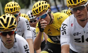 Chris Froome wears the overall leader's yellow jersey on the final stage of the 2017 Tour de France.