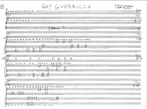 A page from Julius Eastman's Gay Guerrilla score.