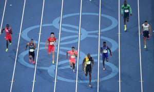 Jamaica's Usain Bolt powers home for his treble treble. Amazing.