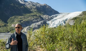 Barack Obama discusses the effects of climate change at Exit Glacier in Seward, Alaska.