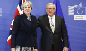Theresa May meets Jean-Claude Juncker in Brussels