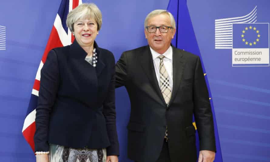 Theresa May meets Jean-Claude Juncker in Brussels