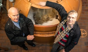 Stefan Fritsche with his father, Helmut, at their monastery brewery, Klosterbrauerei Neuzelle.
