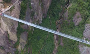 Located in China's Hunan Province, the attraction is the first high altitude glass bridge in the country and