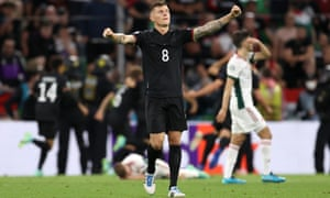 Toni Kroos of Germany celebrates after Leon Goretzka's winning goal.