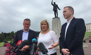 Sinn Fein's Conor Murphy, Michelle O'Neill and Chris Hazzard (right) after a meeting with Northern Ireland Secretary Julian Smith at Stormont House.