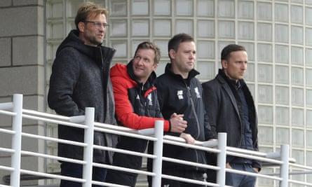 Jürgen Klopp watches Liverpool's Under-18s on Saturday, along with the academy director Alex Inglethorpe, Under-21 coach, Michael Beale, and first-team development coach, Pepijn Lijnders.