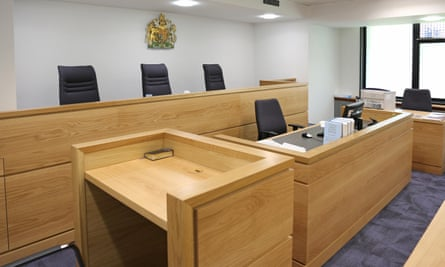Empty English courtroom