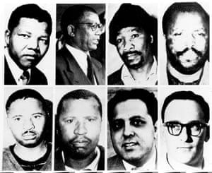 Rivonia trialists (left to right on top row): Nelson Mandela, Walter Sisulu, Gowan Mbeki and Raymond Mhlaba. Bottom row: Elias Motsoaledi, Andrew Mlangeni, Ahmed Kathrada and Denis Goldberg