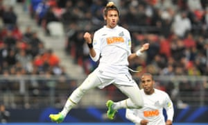 Neymar celebrates after scoring for Santos at the Club World Cup in December 2011, by which point he had signed a deal pledging to join Barcelona.